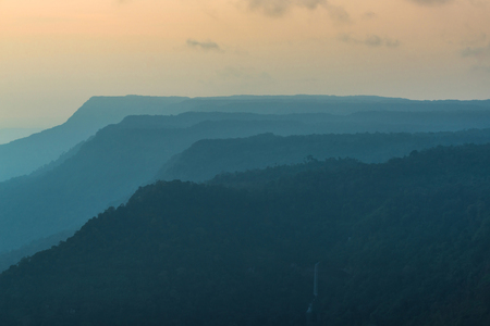 lhouettes of mountain in the evening.Bolaven plateau, Southern of LAOS Stock Photo