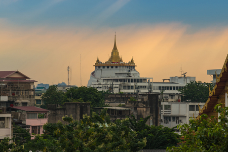Golden Pagoda called Golden Mountain temple, The most tourist destination landmark in Bangkok Thailand Stock Photo