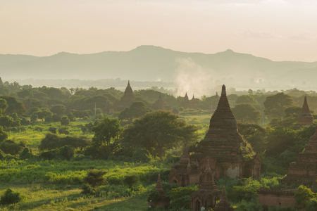 Sunset in Bagan, Myanmar. Bagan is ancient city with thousands of ancient temples in Myanmar.