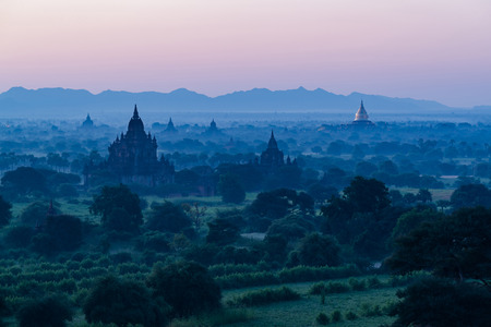 The Temples of Bagan sunrise time Bagan, Myanmar Stock Photo