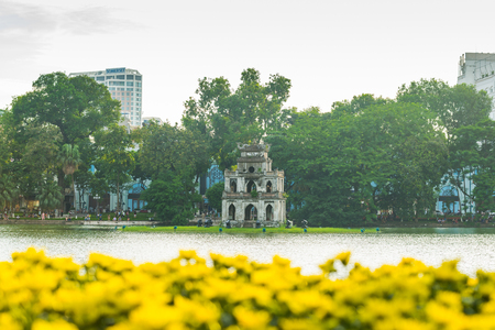 Hanoi,Vietnam - August 21,2017 : Turtle Tower or Tortoise tower which is located in the middle of the lake.Hoan Kiem Lake Stock Photo
