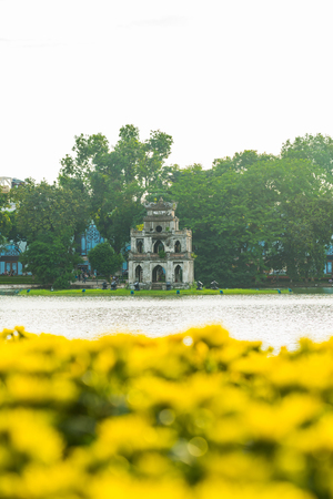 Hanoi,Vietnam - August 21,2017 : Turtle Tower or Tortoise tower which is located in the middle of the lake.Hoan Kiem Lake Editorial