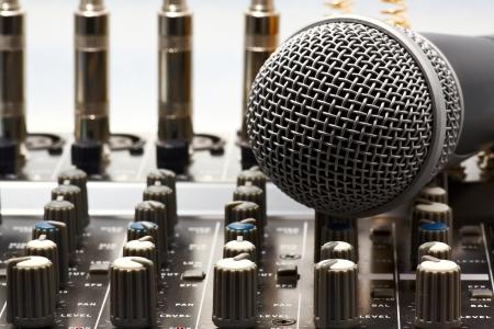 pop singer: audio equipment for studio sound recording playback Stock Photo