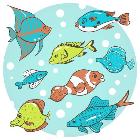 vector illustration a set of eight aquarium fish on a blue background