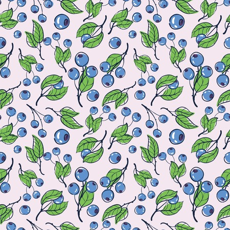 blue berry: vector pattern seamless Wallpaper with blueberry Illustration