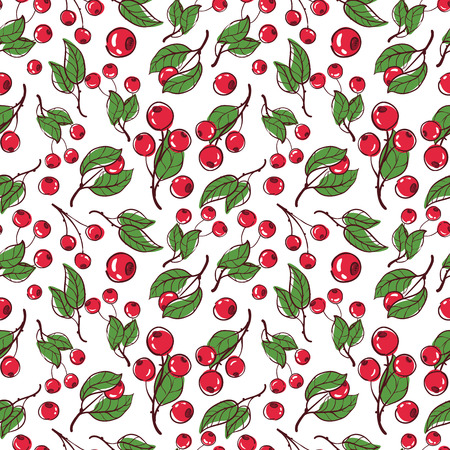 cowberry: vector pattern seamless Wallpaper with cowberry Illustration