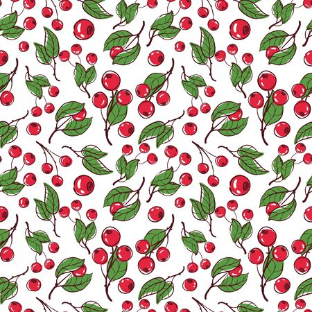 cowberry: vector pattern, seamless Wallpaper with cowberry