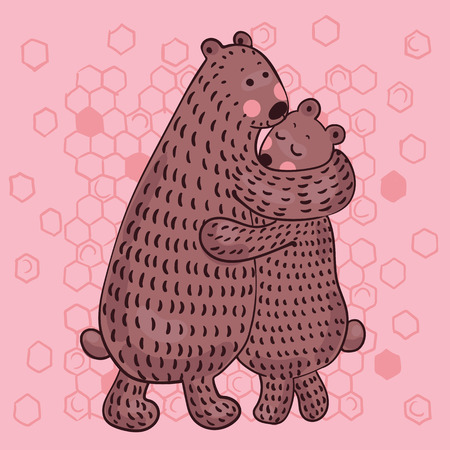 vector illustration of lovers bears on pink background