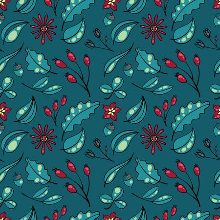 soulful: vector illustration, pattern of plants, flowers, berries on a turquoise background Illustration
