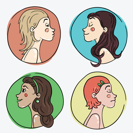 vector illustration of four girls with different characters and appearance Çizim
