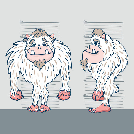 big foot: vector illustration of a yeti from two perspectives against the background of the measuring tape Illustration