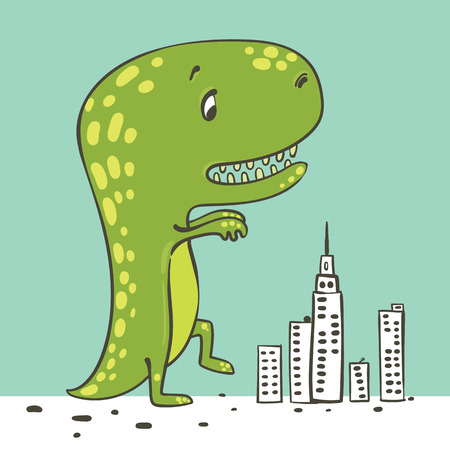 terrific: vector illustration of a green dinosaur walking on the city