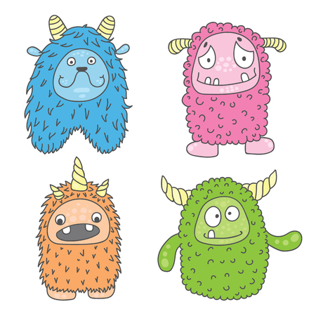 witty: vector illustration of four monsters of different colors and characters