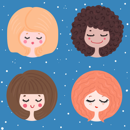 vector illustration of four girls in different images, with different characters against the starry sky