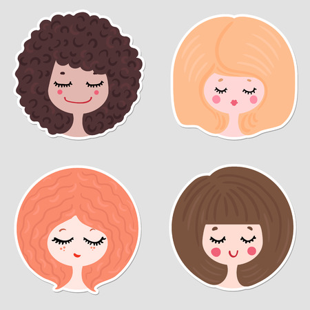 vector illustration of four girls in different images, with different characters