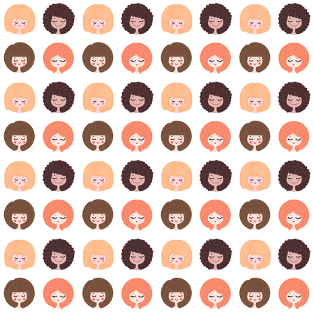 seamless wallpaper with different girls on a white background Illustration
