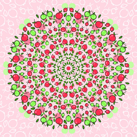 greens: vector round ornament from juicy apples and fresh greens