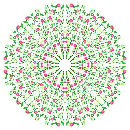 pinstripes: vector illustration of a circular ornament with apples and leaves