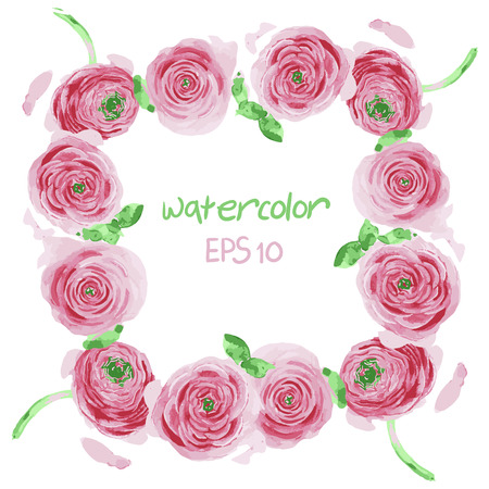 place for your text: vector, frame from watercolor flowers with place for your text