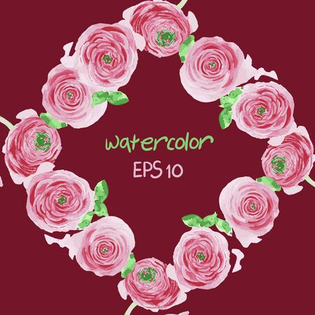 place for your text: frame from watercolor flowers with place for your text Illustration