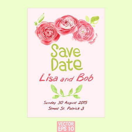 soft background: vector template of wedding invitation using watercolor flowers on soft background
