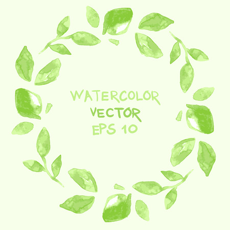 vector wreath or frame from watercolor leaves with place for your text