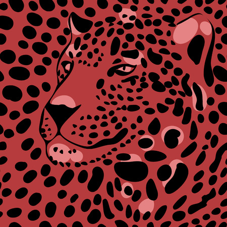 animal skin: seamless wallpaper with a leopard print and a silhouette of the muzzle of leopard Illustration