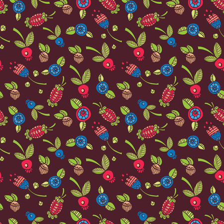 maroon background: seamless wallpaper with flowers and berries on a maroon background in doodle style Illustration