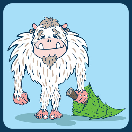 yeti: Bigfoot, the yeti with a tree in hand, on a blue background Illustration