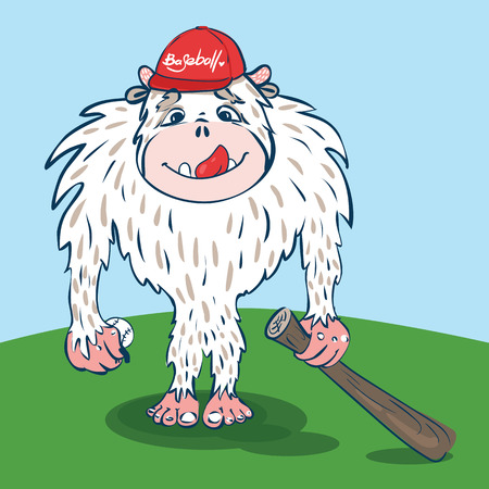 yeti: Yeti baseball player with a funny face, with ball, bat in the hat