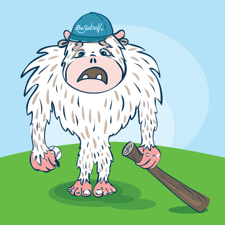 Yeti baseball player with a funny face, with ball, bat in the hat