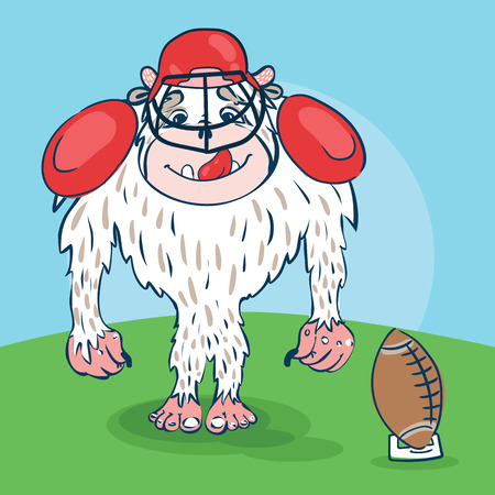 yeti: Yeti rugby player with a funny face, with ball, bat in the hat Illustration