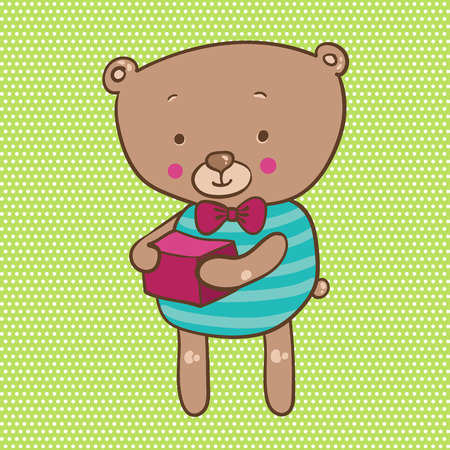 clumsy: illustration of a cute bear with a gift in hands on green background Illustration