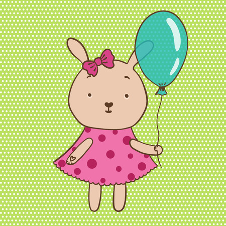 pink dress: illustration of bunny in a pink dress with a balloon in the hands on light green background Illustration