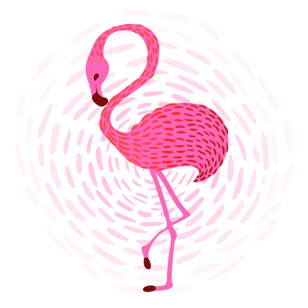 subtropical: illustration of pink flamingo at sunset