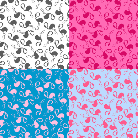 flamingos: set vector pattern, seamless wallpaper with pink flamingos Illustration