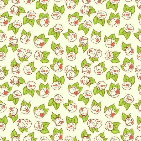 vector pattern print , seamless wallpaper with hazelnuts