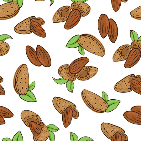 amande: vector seamless Wallpaper with almond nuts in different forms