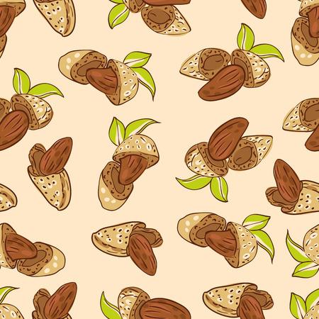 amande: vecteur seamless wallpaper avec des noix d'amande sous diff�rentes formes