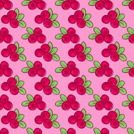 cranberry illustration: vector seamless wallpaper pattern with the image of the berries cowberries