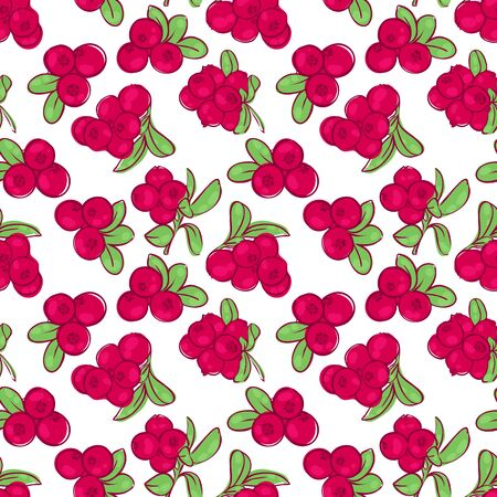 cowberry: vector seamless wallpaper pattern with the image of the berries cowberries