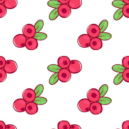 vector seamless wallpaper pattern with the image of the berries cowberries