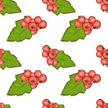 red currant: vector seamless wallpaper with images of red currant in doodle stile
