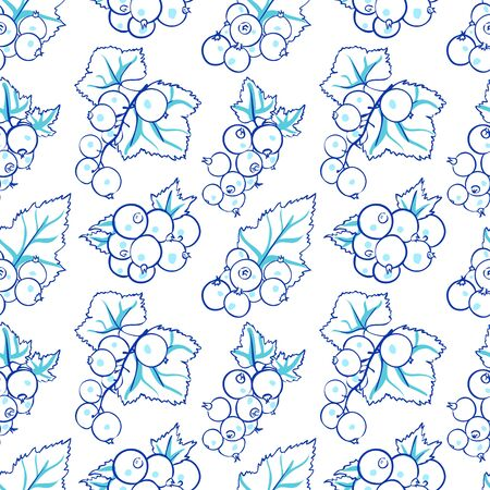currant: vector seamless wallpaper with images of currant in doodle stile