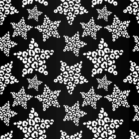 leopard: vector pattern, seamless wallpaper with stars in leopard spots