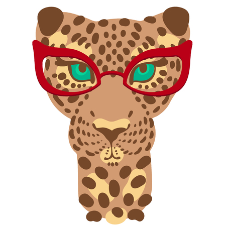 muzzle: vector illustration, the muzzle of the leopard in fashion glasses for prints on your clothes