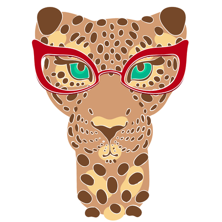 fashion glasses: vector illustration, the muzzle of the leopard in fashion glasses for prints on your clothes