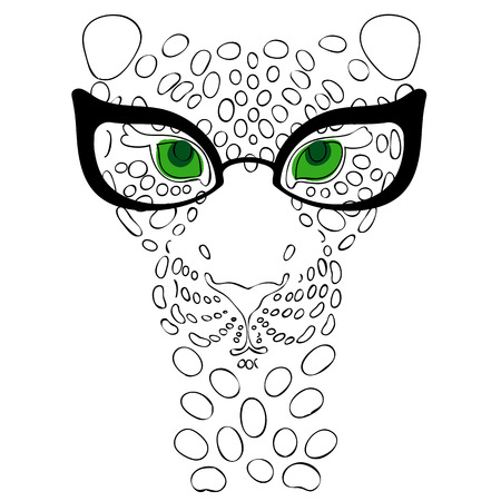 illustration, the muzzle of the leopard in fashion glasses for prints on your clothes Illustration