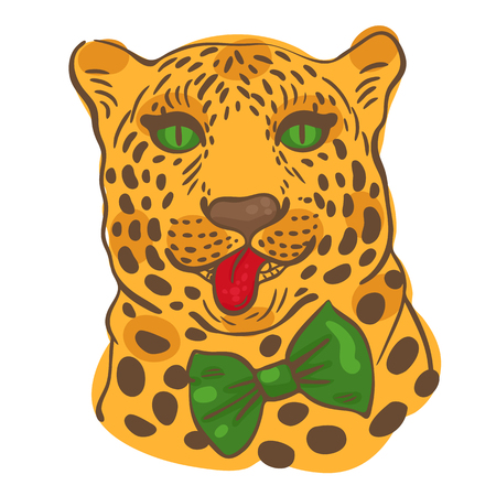 hanging out: print for t-shirts, illustration of the face of a leopard with its tongue hanging out in a bow-tie