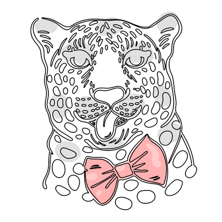 bowtie: print for t-shirts, illustration of the face of a leopard with its tongue hanging out in a bow-tie